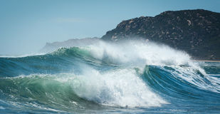 Huge waves on the sea in Lombok island, Indonesia Stock Photos
