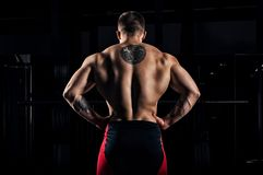 Huge weightlifter stands with his back to the camera and shows h. Is huge back. Back view Stock Photography