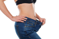 Huge weightloss. Close up picture of a young woman`s body after weightloss Royalty Free Stock Images