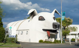 Huge welcome dog building in Tirau, New Zealand. Tirau, South Waikato, New Zealand - October 23, 2016: Huge welcome dog building in Tirau, South Waikato, New Stock Images
