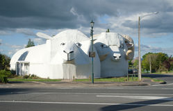 Huge welcome sheeps building in Tirau, New Zealand. Tirau, South Waikato, New Zealand - October 23, 2016: Huge welcome sheeps building in Tirau, South Waikato stock photo
