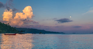 Huge White Clouds above Diving Station on Sunset, Moon in Sky, Homestay Gam Island, West Papuan, Raja Ampat, Indonesia Stock Image