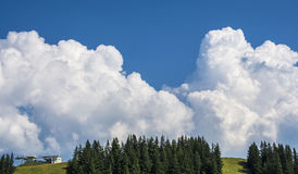Huge white clouds over the mountains. In Tirol, Austria Royalty Free Stock Images