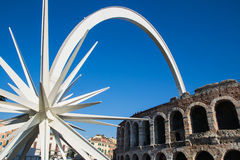 Huge white comet in Verona Stock Photography