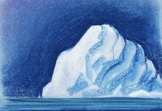 A huge white iceberg on the background of the night sky. Painted with pastel on paper illustration royalty free stock photos