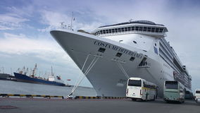 Huge white luxury cruise ship moored at sea port. Full HD stock footage