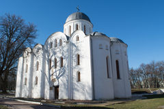 Huge white ortodox christian ancient cathedral Stock Photo