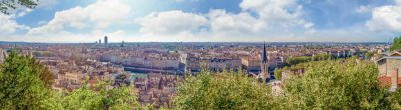 Huge wide Panorama view of the city, Lyon, France Stock Image