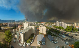Huge wildfire in Split, Croatia. 17-July-2017 Huge wildfire over Dalmatia region and in suburb of second largest town Split in Croatia. Panoramic aerial view Stock Photos