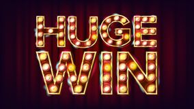 Huge Win Banner Vector. Casino Shining Lamp Background. For Fortune Advertising Design. Gambling Illustration. Huge Win Banner Vector. Casino Shining Lamp Royalty Free Stock Images