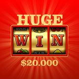 Huge Win casino banner. Huge Win casino with word WIN on slot machine banner vector illustration