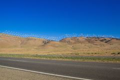 The huge wind farm in Nevada desert, USA. The huge wind farm on the hills in Nevada desert, USA royalty free stock photography