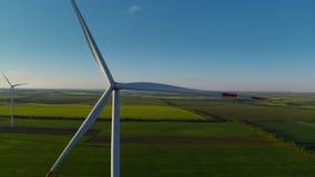 Aerial view of wind turbine park generating environmental friendly energy.