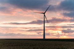 Huge windmill in motion at sunset Royalty Free Stock Image