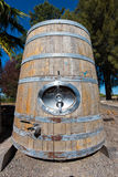 Huge wine storage barrel with handle and spigot Stock Photo