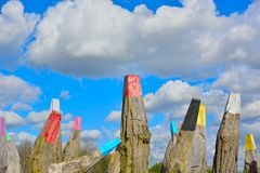 Huge wooden poles Royalty Free Stock Photo