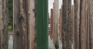 Huge wooden posts with beautiful texture. Green society concept