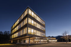 Huge wooden timber sustainable office building. At dawn Royalty Free Stock Photos