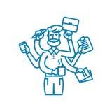Huge workload linear icon concept. Huge workload line vector sign, symbol, illustration. vector illustration