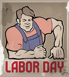 Huge workman poster with Labor Day typography Royalty Free Stock Image