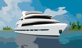Huge yacht. A huge yacht on background of sea and islands royalty free illustration