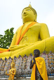 Huge yellow buddha statue Stock Photography