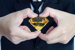 Huge yellow diamond Royalty Free Stock Photography