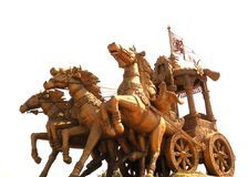 Bhilai, Chhattisgarh, India - October 26, 2009 Huge golden statue of Lord Krishna driving Arjuna`s chariot. Huge yellow, golden color statue of Lord Krishna Royalty Free Stock Photos
