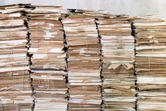 Piles of old papers. Huges piles of old papers. Some of the papers are attached with string royalty free stock image