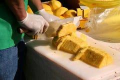 hugga av ananasarbetare Arkivfoto