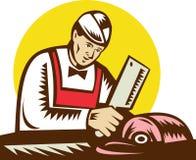 hugga av meat för slaktare royaltyfri illustrationer