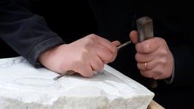 Hugga för marmor Arkivbild