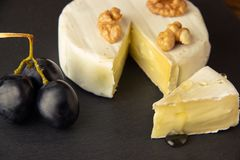 Huggen av camembert på en mörk bakgrund med muttrar, druvor och honung royaltyfri bild