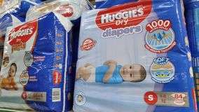 Huggies diapers sold in store in Johor Bahru, Malaysia stock image