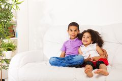 Hugging brother and sister Royalty Free Stock Images
