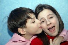 Hugging children stock photo
