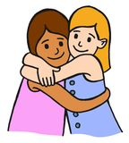 Hugging children friends Royalty Free Stock Photos