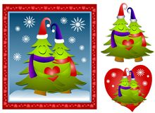 Hugging Christmas Tree Couple royalty free stock photo