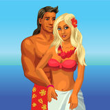 Hugging couple on the beach. Bikini tanned girl with blond hair on vacation, honeymoon, happy lovers royalty free illustration