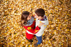 Hugging couple in love in park Royalty Free Stock Image