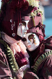 Hugging couple of masks at the Carnival of Venice Royalty Free Stock Images