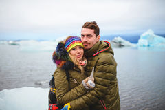 Hugging Couple with Piece of Ice Stock Image