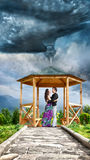 Hugging couple in tornado Royalty Free Stock Images