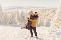 Hugging Couple in Winter Royalty Free Stock Photo
