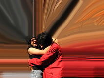 Hugging Effect. An Indian couple hugging with a motion effect around them Stock Image