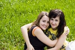 Hugging friends Stock Photo