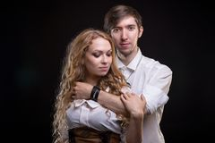 Hugging gentle young loving couple Stock Photo