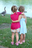 Hugging Girls. Two little girls have their arms around each other while they watch the geese and ducks at a pond Royalty Free Stock Photo