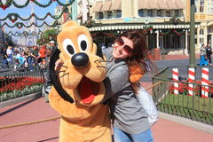 Hugging Goofy in Disney World Stock Image