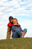 Hugging grandma Stock Photo